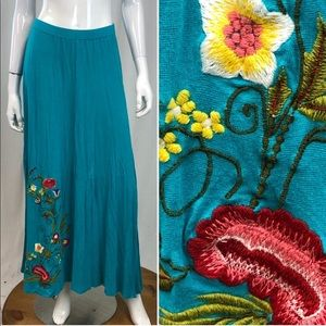 Caite Floral Embroidered Stretchy Maxi Skirt